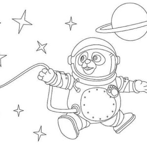 Special Agent Oso as an Astronaut Coloring Page