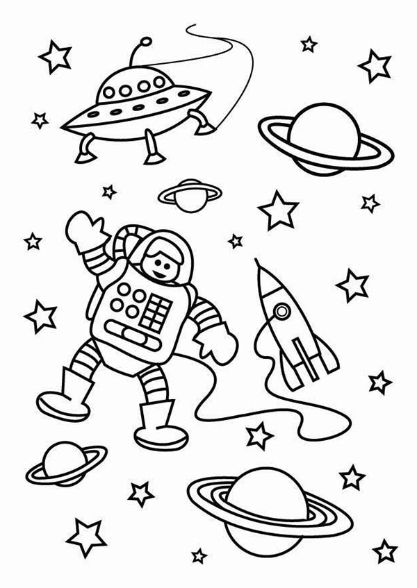 outerspace coloring pages - the astronaut on the outer space mission coloring page