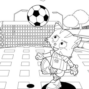 The Cat Playing Soccer In Park Coloring Page