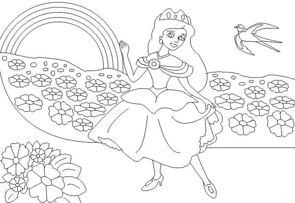 Rainbow The Princess And Coloring Page