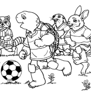 The Turtle Playing Soccer with His Teammate Coloring Page