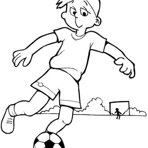This Boy is Practising His Soccer Move Coloring Page