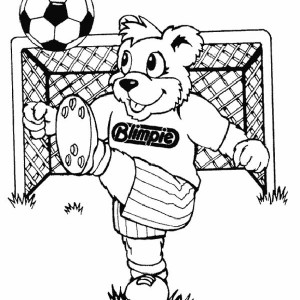 This Cute Bear is Practising His High Loop Ball Handling Coloring Page