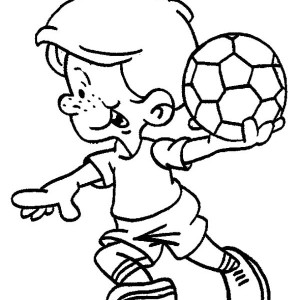 This Little Boy is Ready to Make a Soccer Throw In Coloring Page
