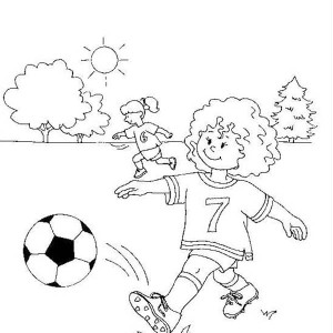 this little girl making a short pass on soccer game coloring page - Girl Soccer Player Coloring Pages
