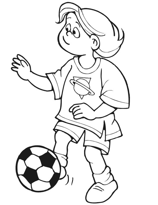 print this little girl playing soccer alone coloring page in full size - Girl Soccer Player Coloring Pages