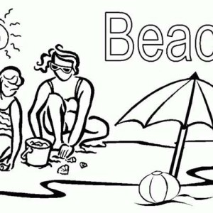This Little Girl Playing the Beach Sand with Her Mom Coloring Page