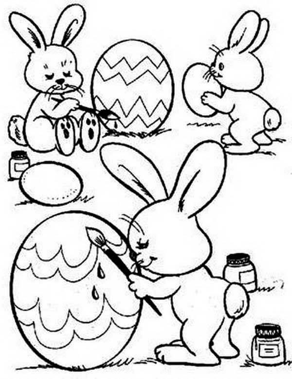 Three cute bunnies decorating an easter eggs coloring page for Cute easter coloring pages to print