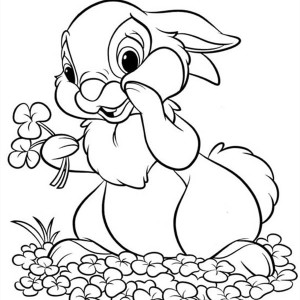 bunnies thumper holding flowers for miss bunny coloring page thumper holding flowers for miss