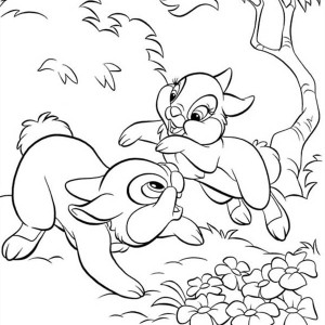 thumper playing around with miss bunny coloring page - Bunny Coloring 2