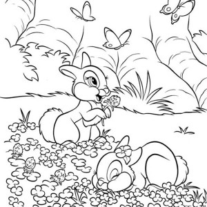 Thumper and Miss Bunny Playing on the Flower Field Coloring Page