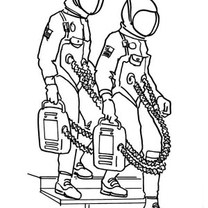 Two Astronauts Are Ready For Space Mission Coloring Page