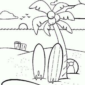 Two Beach Surfboard Under the Coconut Tree Coloring Page