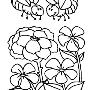 Two Bumblebees Looking for Honey Coloring Page
