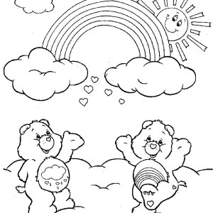 rainbow two care bears cheering the rainbow coloring page two care bears cheering the