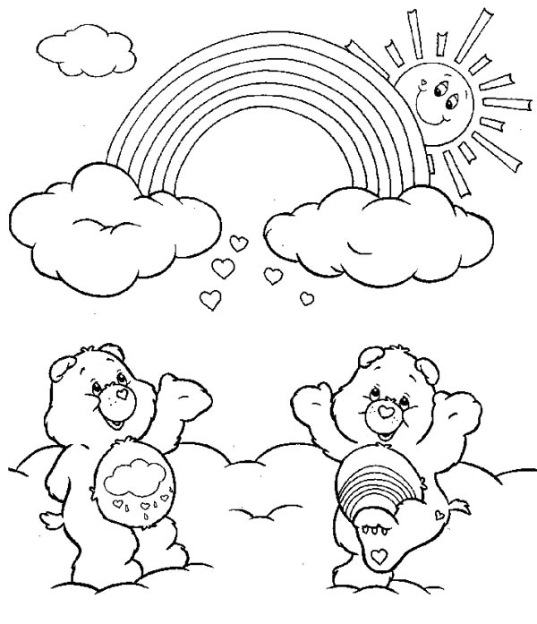 Two Care Bears Cheering the Rainbow Coloring Page Download