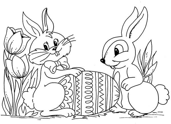Bunnies, : Two Easter Bunnies With An Easter Egg Coloring Page