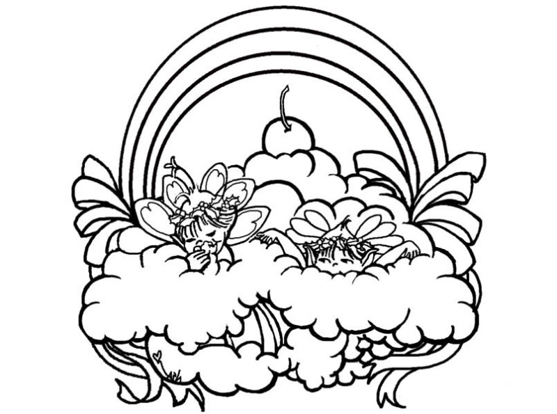 rainbow two fairies playing over the rainbow coloring page - Rainbow Color Page