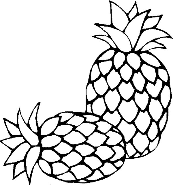 Two Fresh Sugarloaf Pineapple Coloring Page Download Print