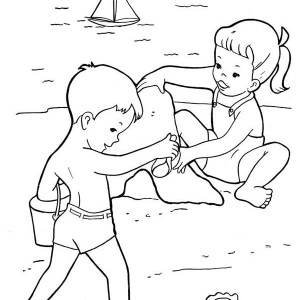 Two Kids Build Sand Castle Together Coloring Page