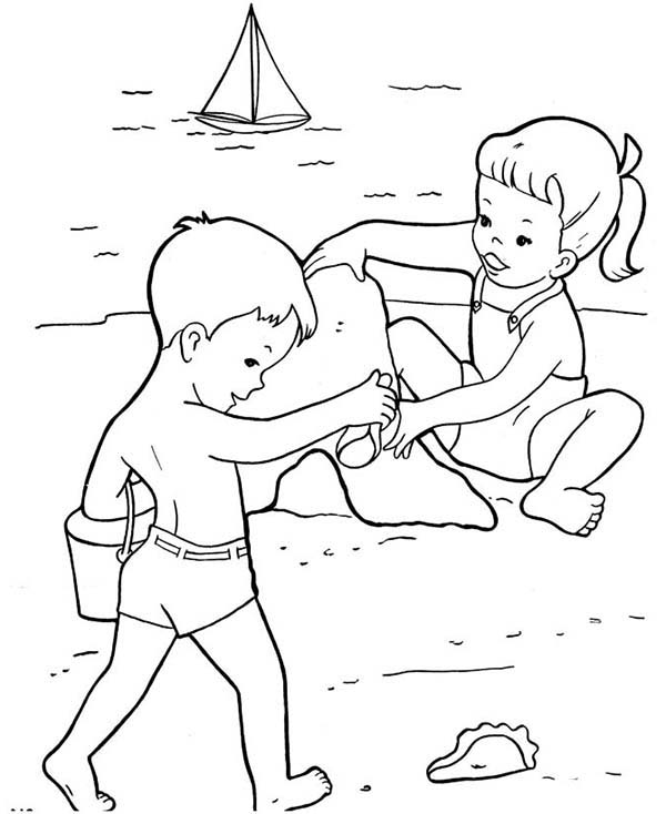Two Kids Build Sand Castle Together Coloring Page - Download ...
