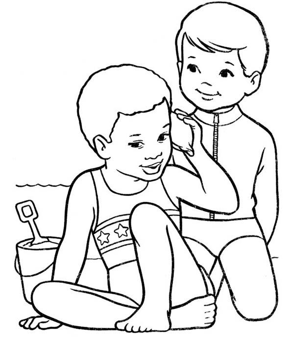 Beach Vacation Two Kids Playing With The Sand Coloring Page