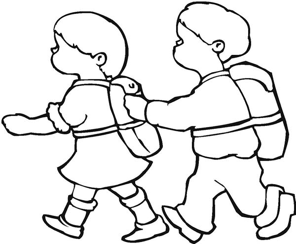 sketch of group of people walking coloring pages