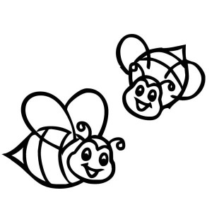 Two Smiling Bumblebee on the Farm Coloring Page
