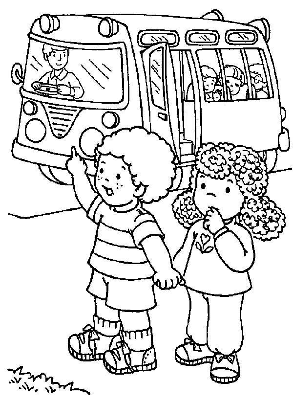 first day of school two students stopping the school bus on first day of - First Day Of School Coloring Page