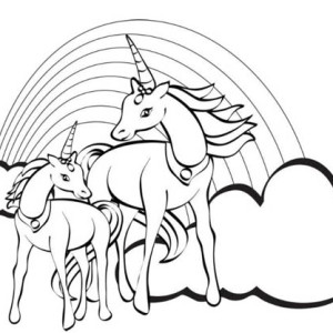 Two Unicorn with a Rainbow at Their Back Coloring Page