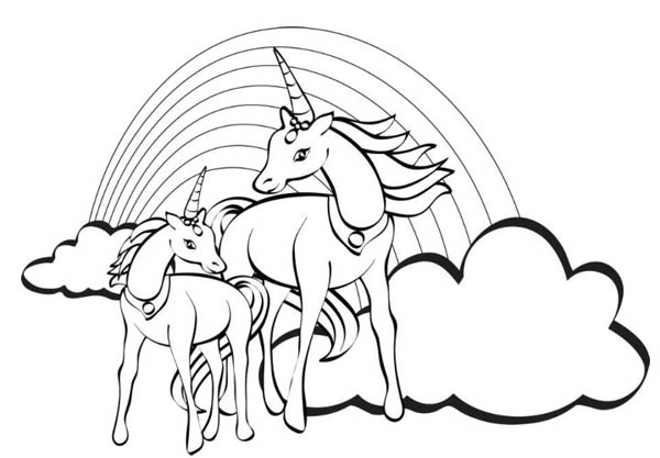 Two unicorn with a rainbow at their back coloring page for Rainbow unicorn coloring pages