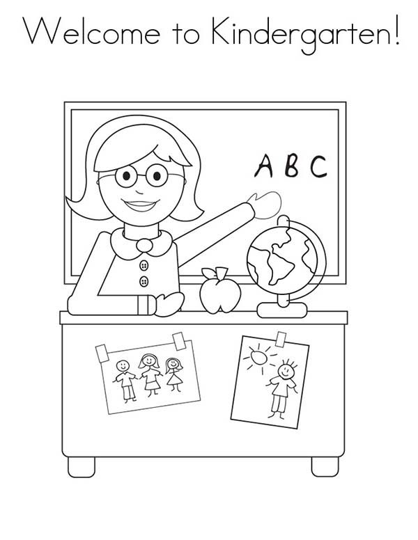 first day of school welcome to kindergarten on first day of school coloring page - First Day Of School Coloring Page