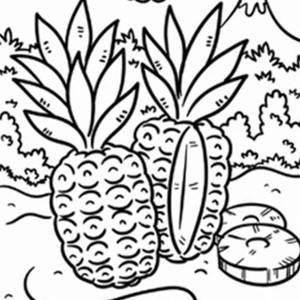 Wild Pineapple in a Tropical Island Coloring Page