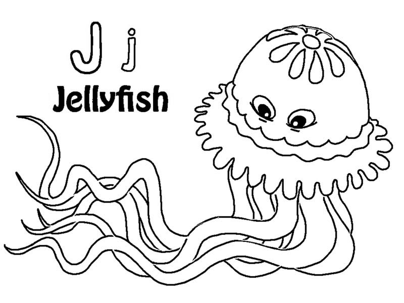 find letter j on jellyfish coloring page can you find letter j
