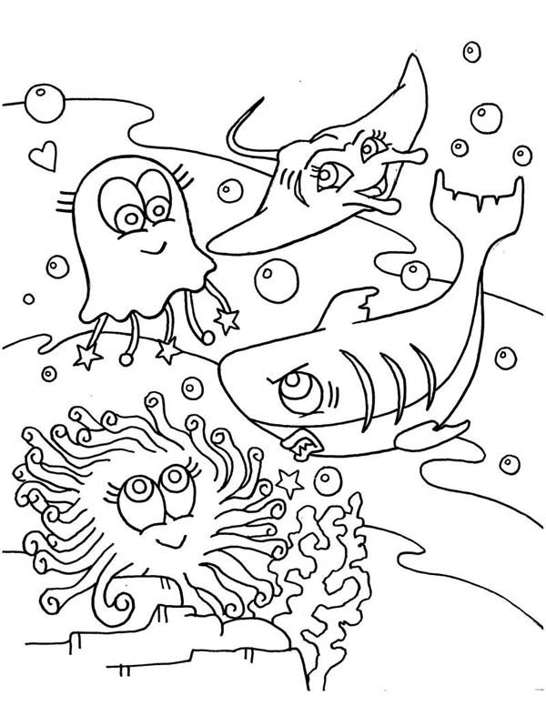 cute jellyfish shark and mantaray coloring page Download Print