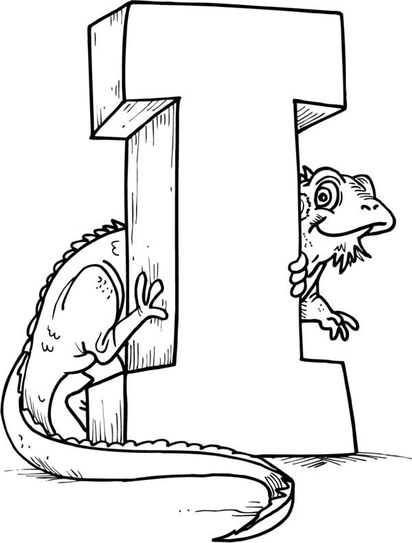 green iguana with letter i coloring page for kids download - I Colouring Pages