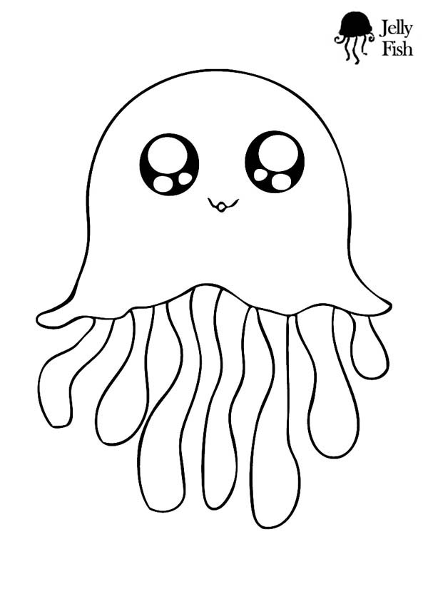 jellyfish cute icon coloring page Download Print Online