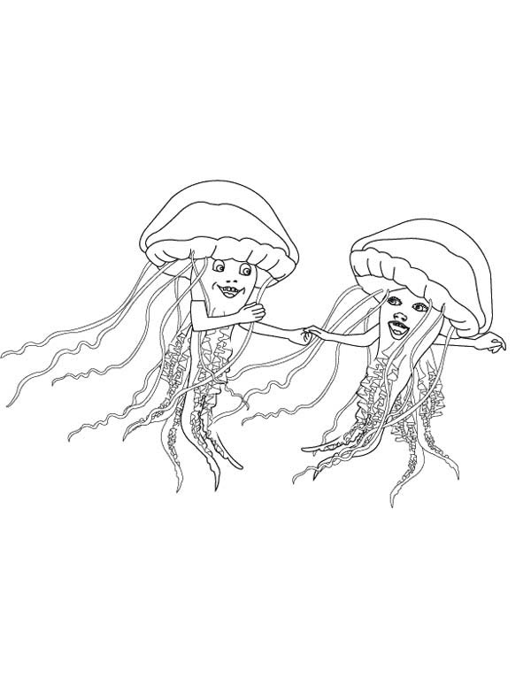 jellyfish dancing coloring page jellyfishdancing