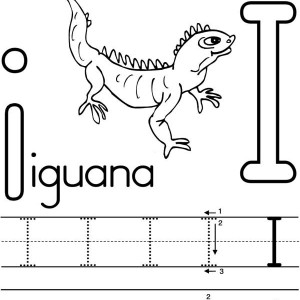 learning to write letter I for Iguana coloring page