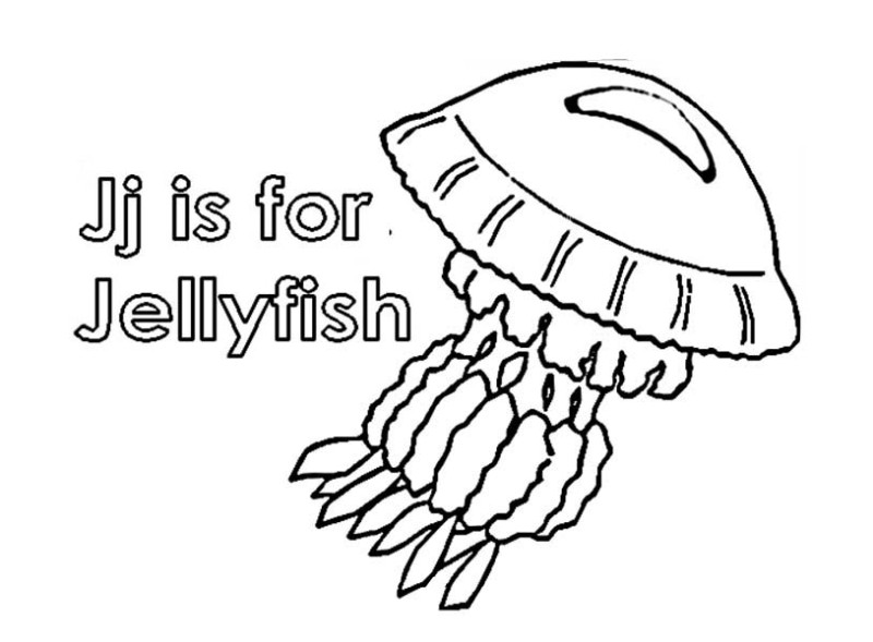 Jellyfish Letter J For Coloring Page