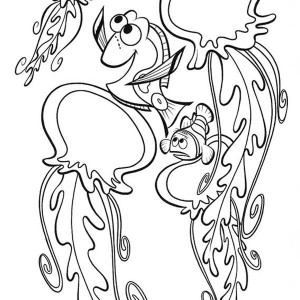 nemo and friends talking to jellyfish coloring page