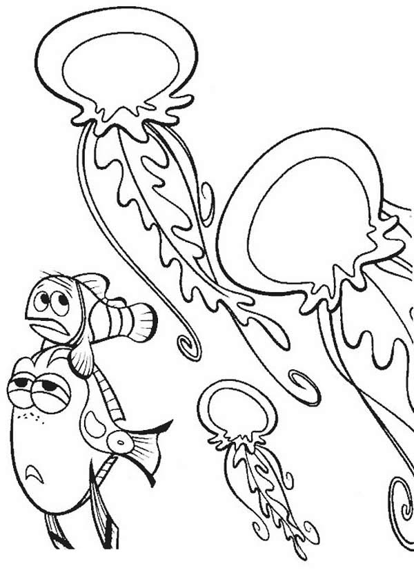 nemo and jellyfish coloring page