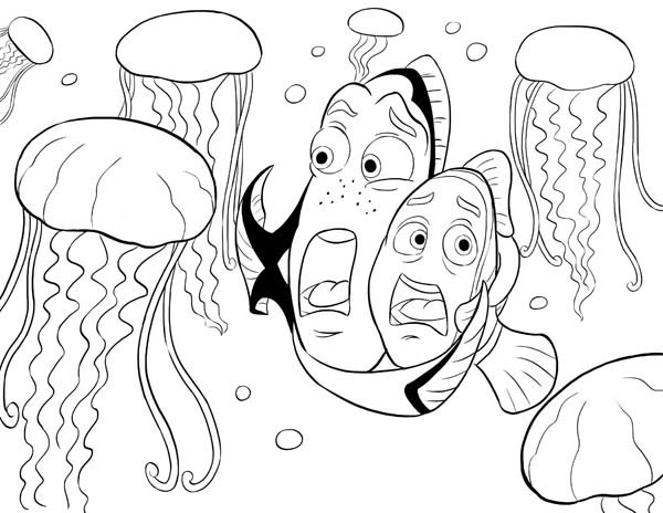 nemo surrounded by jellyfish coloring page Download Print