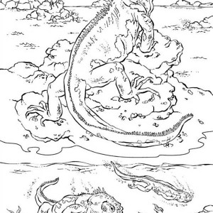 sea iguana coloring page for kids