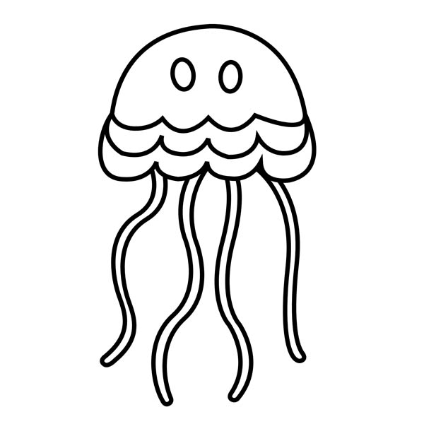 simple cartoon jellyfish coloring page Download Print Online