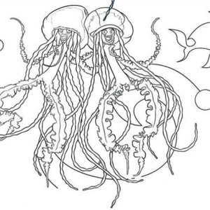 singing jellyfish coloring page for kids