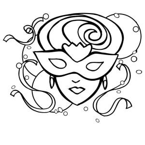 a beautiful lady on mardi gras mask coloring page