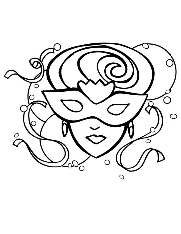 A Beautiful Lady On Mardi Gras Mask Coloring Page