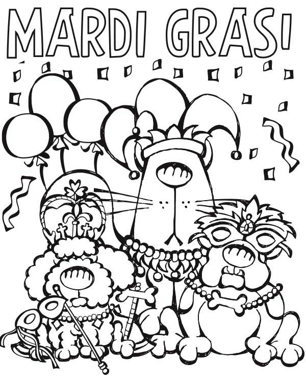 Cartoon Characters Parade on Mardi Gras Coloring Page Download