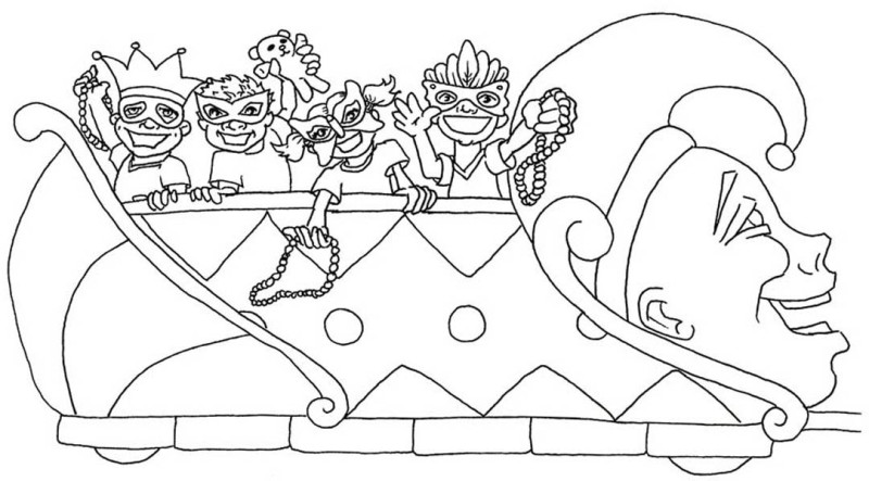 A Colorful Parade of Decorative Vehicle on Mardi Gras Coloring Page ...